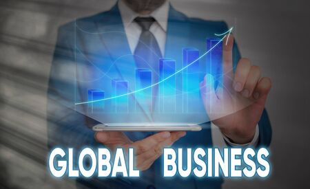 Handwriting text Global Business. Conceptual photo Trade and business system a company doing across the world 免版税图像