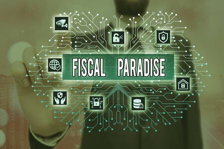 Writing note showing Fiscal Paradise. Business concept for The waste of public money is a great concern topic Standard-Bild
