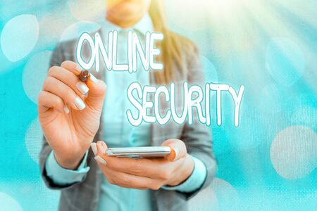 Text sign showing Online Security. Business photo text rules to protect against attacks over the Internet