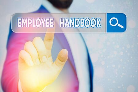 Text sign showing Employee Handbook. Business photo showcasing Document that contains an operating procedures of company