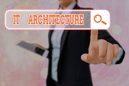 Writing note showing It Architecture. Business concept for Architecture is applied to the process of overall structure