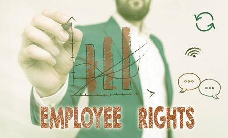 Word writing text Employee Rights. Business photo showcasing All employees have basic rights in their own workplace