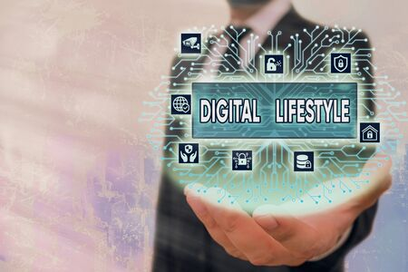 Writing note showing Digital Lifestyle. Business concept for Working over the internet World of Opportunities 免版税图像
