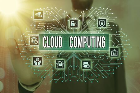 Writing note showing Cloud Computing. Business concept for use a network of remote servers hosted on the Internet