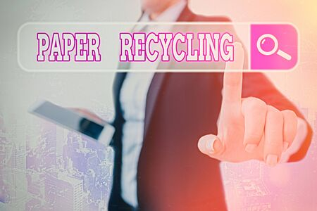 Writing note showing Paper Recycling. Business concept for Using the waste papers in a new way by recycling them