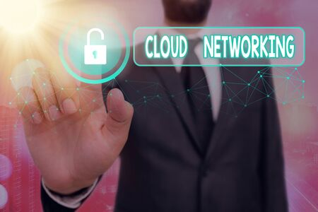 Text sign showing Cloud Networking. Business photo showcasing is term describing access of networking resources Stock Photo