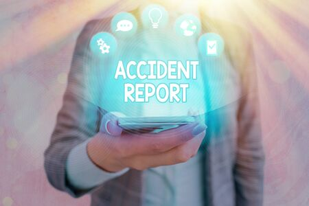 Text sign showing Accident Report. Business photo showcasing A form that is filled out record details of an unusual event