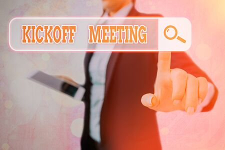 Writing note showing Kickoff Meeting. Business concept for Special discussion on the legalities involved in the project Stockfoto