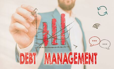 Word writing text Debt Management. Business photo showcasing The formal agreement between a debtor and a creditor Archivio Fotografico