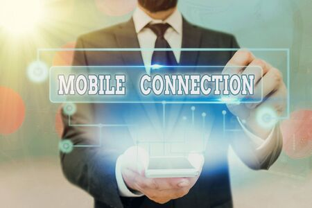 Text sign showing Mobile Connection. Business photo showcasing Secure universal login solution using mobile phone