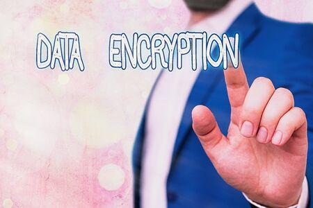 Text sign showing Data Encryption. Business photo showcasing Symmetrickey algorithm for the encrypting electronic data