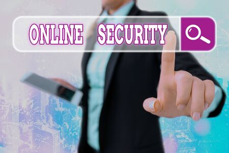 Writing note showing Online Security. Business concept for rules to protect against attacks over the Internet