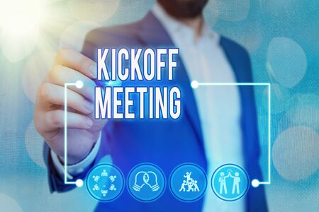 Text sign showing Kickoff Meeting. Business photo text Special discussion on the legalities involved in the project