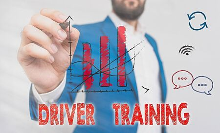Word writing text Driver Training. Business photo showcasing prepares a new driver to obtain a driver s is license