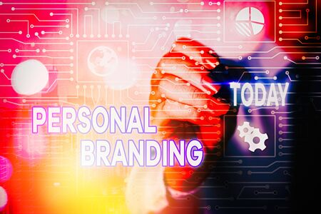 Word writing text Personal Branding. Business photo showcasing Practice of People Marketing themselves Image as Brands