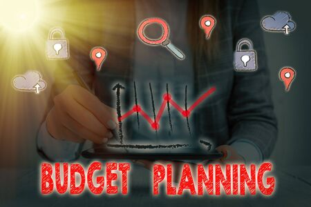 Text sign showing Budget Planning. Business photo showcasing The written description about current and future expenses