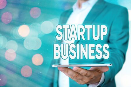 Text sign showing Startup Business. Business photo showcasing Engaging to a New Venture Fresh Trading and Selling