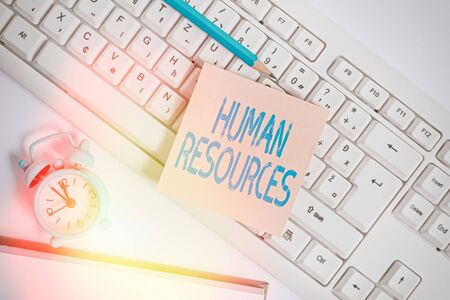 Handwriting text Human Resources. Conceptual photo The showing who make up the workforce of an organization Empty copy space red note paper bubble above pc keyboard for text message