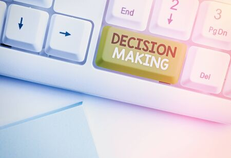 Text sign showing Decision Making. Business photo text The act of deciding between two or more possibilities 写真素材