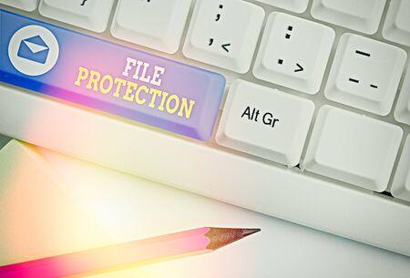 Handwriting text File Protection. Conceptual photo Preventing accidental erasing of data using storage medium Standard-Bild