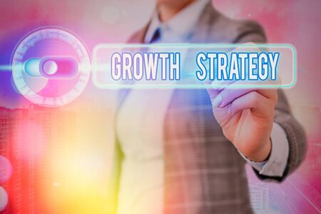Writing note showing Growth Strategy. Business concept for Strategy aimed at winning larger market share in shortterm