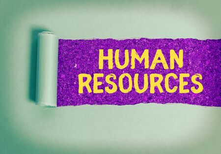 Text sign showing Human Resources. Business photo showcasing The showing who make up the workforce of an organization