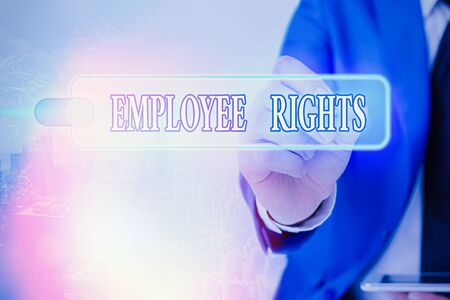 Writing note showing Employee Rights. Business concept for All employees have basic rights in their own workplace
