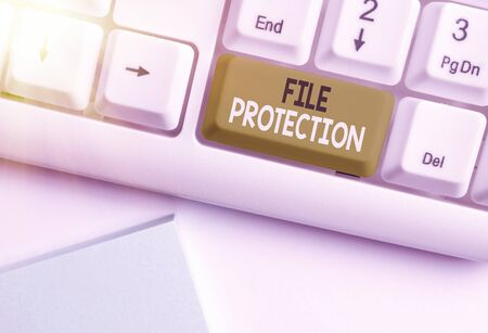 Text sign showing File Protection. Business photo text Preventing accidental erasing of data using storage medium Standard-Bild