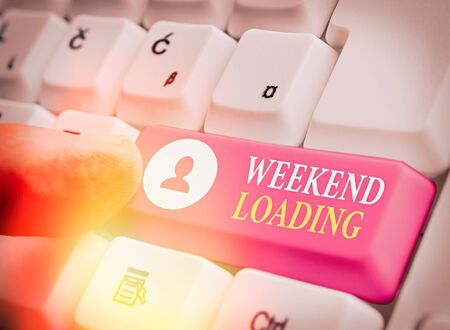 Writing note showing Weekend Loading. Business concept for Starting Friday party relax happy time resting Vacations