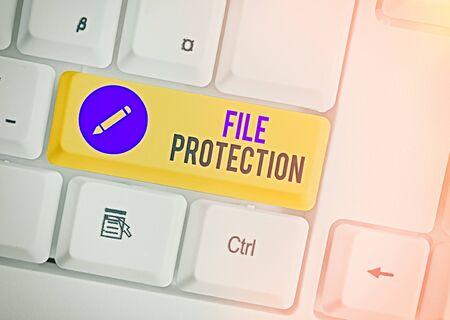 Word writing text File Protection. Business photo showcasing Preventing accidental erasing of data using storage medium Standard-Bild