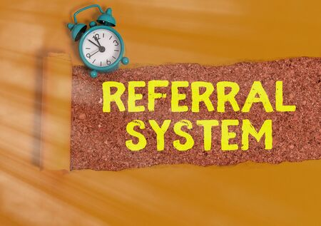 Conceptual hand writing showing Referral System. Concept meaning sending own patient to another physician for treatment