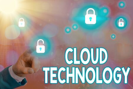Text sign showing Cloud Technology. Business photo text storing and accessing data and programs over Internet Stock fotó