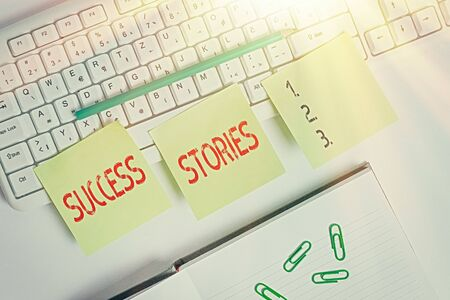 Handwriting text writing Success Stories. Conceptual photo life of rule models from how he started to his death Three empty green square papers by the pc keyboard with copy space