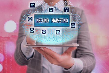 Conceptual hand writing showing Inbound Marketing. Concept meaning Process of attracting the attention of customers