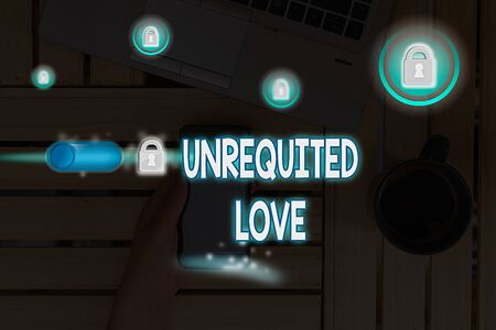 Text sign showing Unrequited Love. Business photo text not openly reciprocated or understood as such by beloved Zdjęcie Seryjne