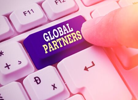 Text sign showing Global Partners. Business photo showcasing Two or more firms from different countries work as a team Reklamní fotografie