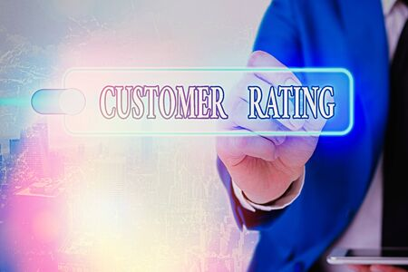Writing note showing Customer Rating. Business concept for Each point of the customers enhances the experience Reklamní fotografie