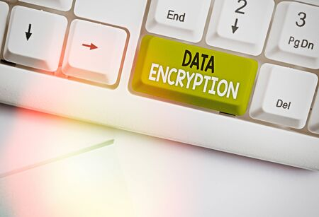 Text sign showing Data Encryption. Business photo text Symmetrickey algorithm for the encrypting electronic data