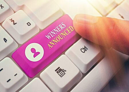 Word writing text Winners Announced. Business photo showcasing Announcing who won the contest or any competition