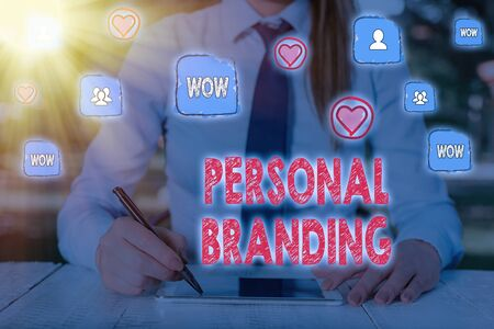 Writing note showing Personal Branding. Business concept for Practice of People Marketing themselves Image as Brands