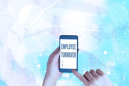 Text sign showing Employee Turnover. Business photo showcasing Number or percentage of workers who leave an organization