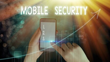 Text sign showing Mobile Security. Business photo text Protection of mobile phone from threats and vulnerabilities Imagens
