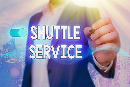 Word writing text Shuttle Service. Business photo showcasing vehicles like buses travel frequently between two places