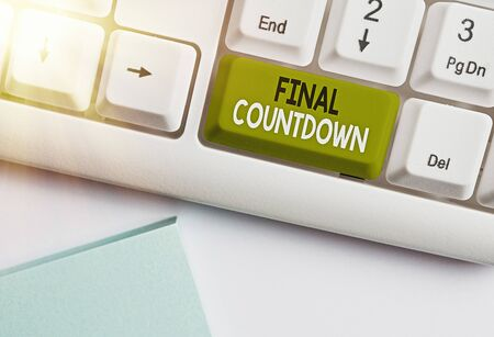 Text sign showing Final Countdown. Business photo text Last moment of any work having no posibility of discusion Stock Photo
