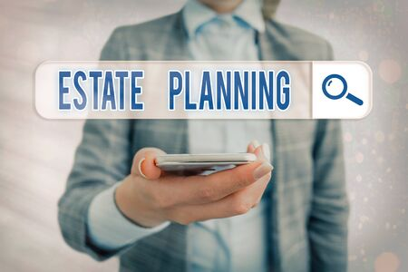 Conceptual hand writing showing Estate Planning. Concept meaning The management and disposal of that an individual s is estate