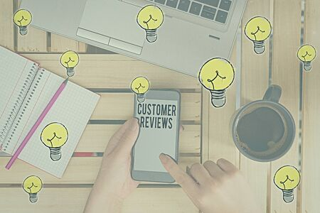 Word writing text Customer Reviews. Business photo showcasing review of product or service made by client who has used