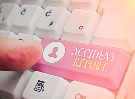 Writing note showing Accident Report. Business concept for A form that is filled out record details of an unusual event Stock Photo