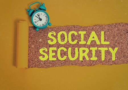 Conceptual hand writing showing Social Security. Concept meaning assistance from state showing with inadequate or no income