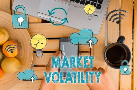 Handwriting text Market Volatility. Conceptual photo Underlying securities prices fluctuates Stability status