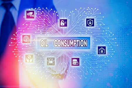 Word writing text Oil Consumption. Business photo showcasing This entry is the total oil consumed in barrels per day Фото со стока